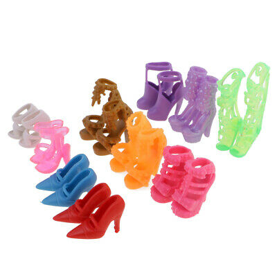 10 Pairs 2cm Doll Shoes High Heels Sandals for Barbie Doll Fashion Dress Toy