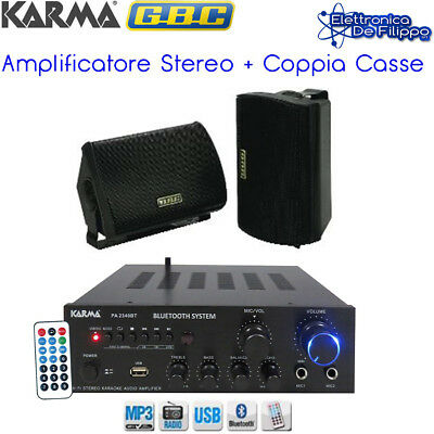 KIT Amplificatore Audio con coppia casse Nero