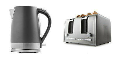 Kitchen Set Toaster 4 Slice + Kettle 1.7L Charcoal Home Decor Automatic