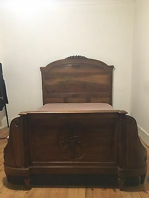 Antique Walnut French Bed Frame 1900 Victorian Furniture