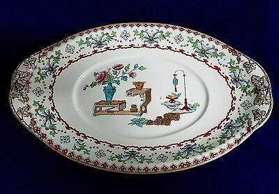 "Copeland (Spode) Smooth Canton Pattern 1877 15"" Handled Serving Platter"