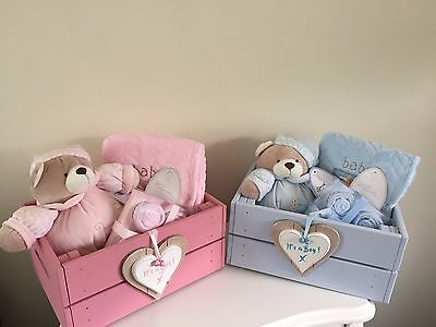 Beautiful Baby It's A Girl Or Boy Hamper In Wooden Storage Box Gorgeous Gift