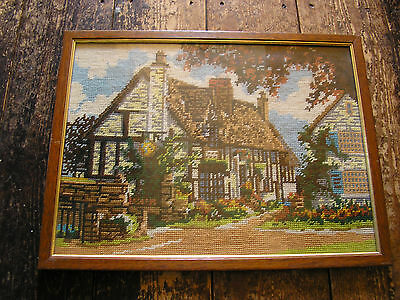 Framed and Mounted Tapestry Depiction of a Cottage
