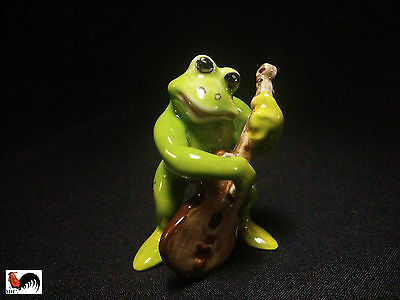 Animal Ceramics Frog Playing Bass Music Figurine Collectible Home Decor Painted