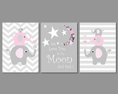 3 Wall Art Nursery Prints Baby Girl Moon & Stars Chevron Elephants Stripes Pink
