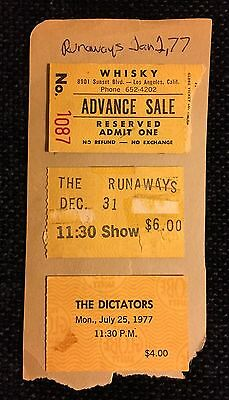 The Runaways, The Dictators Original Concert Tickets 1977-1978 -No Ramones Shirt