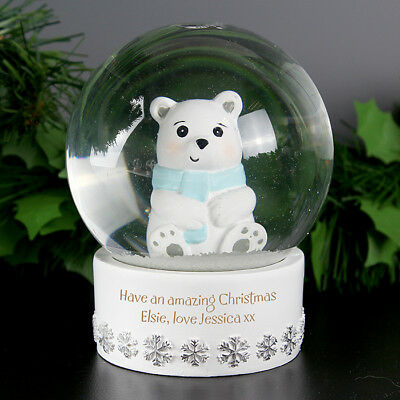 Personalised Any Name Fairy Snow Globe Polar Bear Globe Gift for Young Child