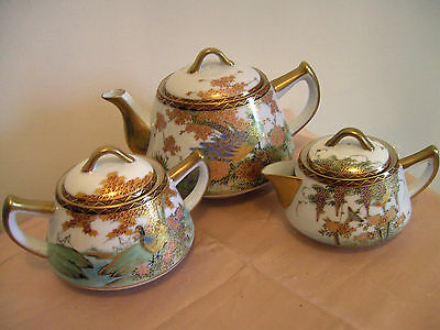 Stunning Vintage 3 Piece Japanese Hand Painted Porcelain Tea Set - Kutani