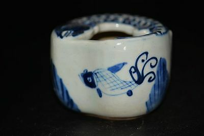 Excellent Chinese Blue and white porcelain Hand-painted fish Brush washer