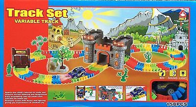 158 PCS CASTLE VARIABLE CAR TRACK SET BATTERY OPERATED uk seller fast dispatch