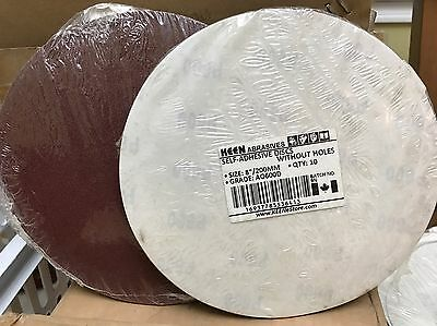 "Pack of 10, KEEN #36413, 8"" PSA Paper Sanding Discs  No Vac Hole 600 Grit"