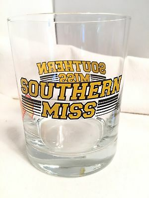 Vintage SOUTHERN MISSISSIPPI SHELL OIL & GAS  Whiskey GLASS USM Football