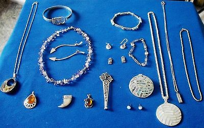 MIXED LOT SILVER JEWELLERY - Brooches & Earrings,necklaces,bangles amber etc