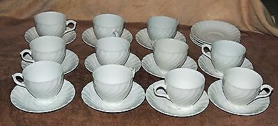 11 Cups 15 Saucers Burgess & Leigh Burleigh Ware Ironstone Queen's White Pattern