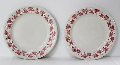 """2-Buffalo China Windsor Pattern Red Leaf 8.25"""" Small Plate Restaurant Ware"""