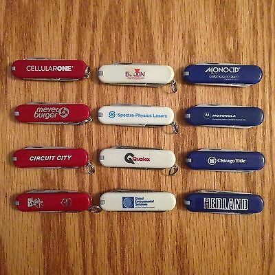 Lot of 12 Used Victorinox Swiss Army Knife Classics & Bijou Red, White &Blue #58