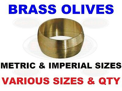 """STEPPED OLIVES IMPERIAL BRASS 5//16/"""" PLUMBING COMPRESSION FUEL COPPER PIPE x 50"""