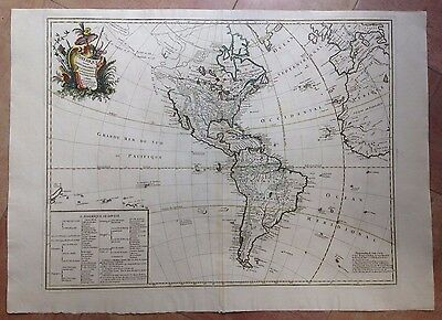 AMERICAN CONTINENT DATED 1746 by LE ROUGE UNUSUAL LARGE COPPER ENGRAVED MAP