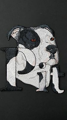 Pitbull Dog,Staffordshire, Pit Bull, Bulldog, Embroidered Patch Black & White