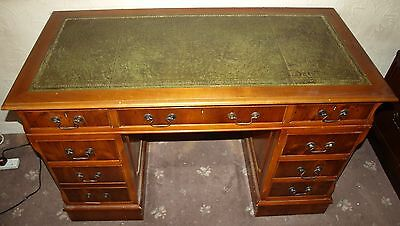 Vintage Green Leather Topped Pedestal Desk Believed To Be Oak, Very Well Made