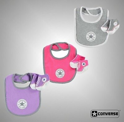 Baby Girls Boys Branded Converse Logo Bib And Soft Knit Bootie Set Accessories
