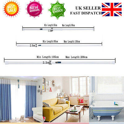 Curtain Rail Pole Spring Extendable Telescopic Shower Bath Window Tension Rod UK