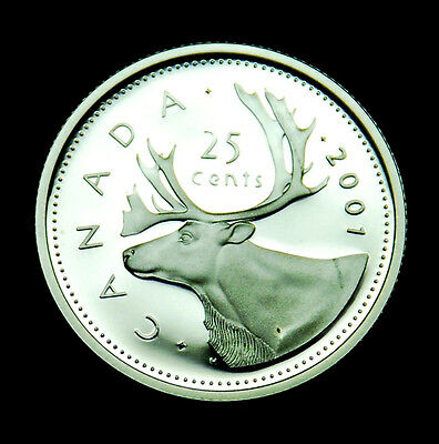 2001 Canadian 25¢ silver proof BU coin from the proof set