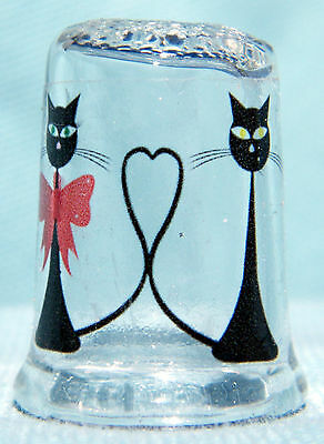 Sweetheart Cats on Glass Thimble by Lotsa