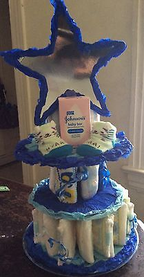3 Tier Diaper Cake Prince  Bright blue Baby Shower Centerpiece