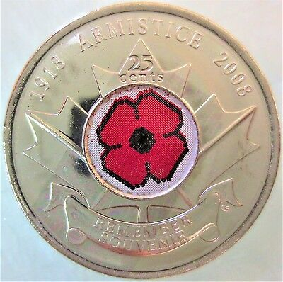 """2008 -  25 Cent Canadian/canada Coins Unc """"poppy"""" Coin"""