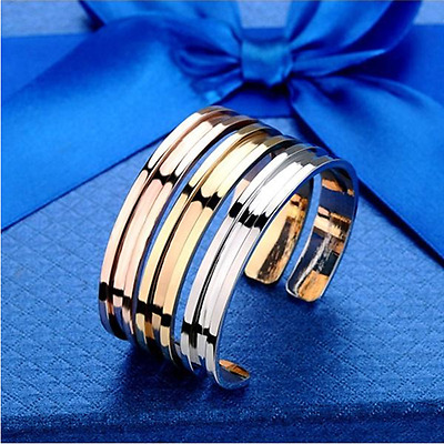 Novelty Gold-plated Stainless Steel Women's Cuff Bangle Jewelry Bracelet