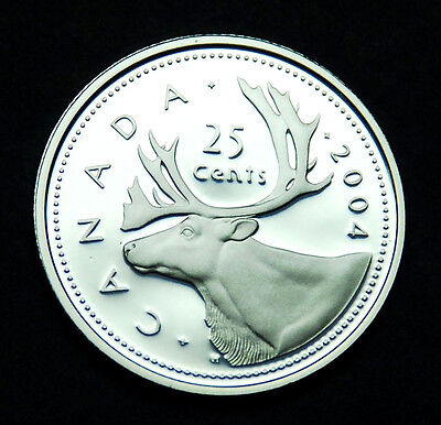 2004 Canadian 25¢ silver proof BU coin from the proof set