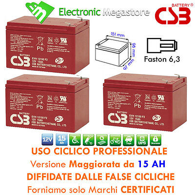 KIT BATTERIE 36V 15Ah GEL/AGM CICLICHE DEEP-CYCLE BICI ELETTRICA - CSB
