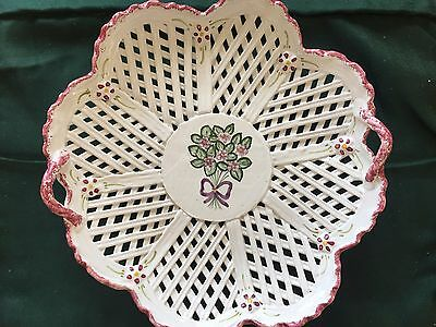 """Portugal Signed Hand Painted Violet White Floral Art Pottery Ceramic 11"""" Plate"""