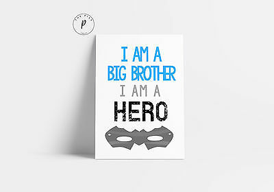 Superhero Mask Big Brother I Am A Hero Nursery Boys Room Wall Art Print Blue A4