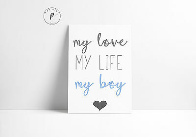 My Love My Boy Blue Baby Gift Room Nursery Wall Art Colour Print-Choose Size A4