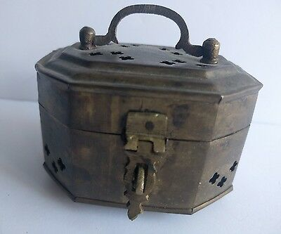 Vintage Brass Lucky Cricket Lock Box made in India Jewelry Trinket
