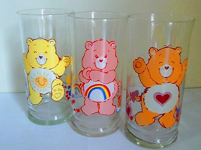 Care Bears 1983 Pizza Hut Limited Edition Collector Series Glasses in Excellent