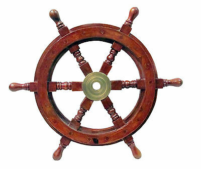 Nautical Wooden Ship Steering Wheel Pirate Decor Wood Brass Wall 'captain