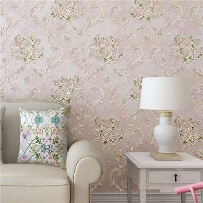 10M 3D Luxury Vintage Damask Embossed Flock Textured Non-Woven Wallpaper Roll Z