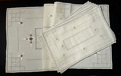 Lefkara Embroidery Beige Linen Placemat Set - 1 Runner 6 Placemats - Vintage