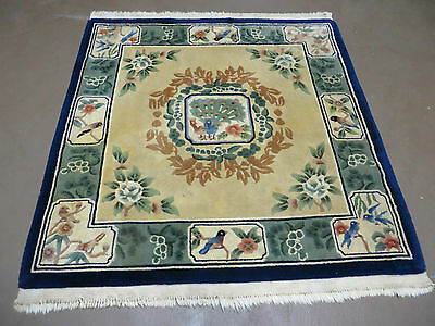 4' X 4' Vintage Hand Made Chinese Art Deco  Wool Rug Carpet Square Peacock Birds