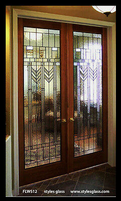 1 Pr  ( 2 ) Genuine  Stained  Glass  Double Doors Pre-hung in Frame