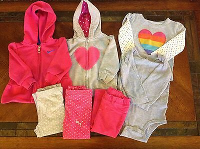 Lot of 7 Pieces Of Baby Girls Clothes Sizes 12 Months- Nike, Puma, Carters