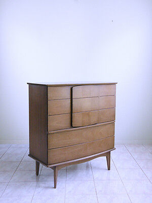 OP ART INLAY mod SPACE AGE mid century modern chest of drawers HIGHBOY dresser