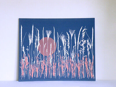 MARUSHKA style boho nautical cottage mod HIGH CONTRAST PRAIRIE GRASS screenprint