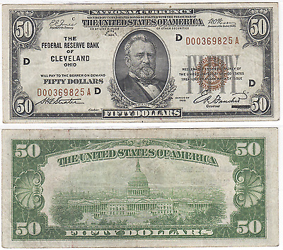 1929 $50 Federal Reserve Bank Note Cleveland District Very Fine FR 1880-D