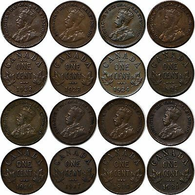 1922-31 1C Canada Small Cent 8 Coin Key Date Lot Fine Or Better