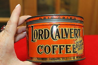Vintage Lord Calvert Coffee Tin Can Made By Canco Baltimore Md. Some Scratches