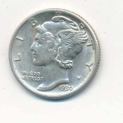 1930-S Mercury Silver Dime-Excellent Details! Gently Circulated-Ships Free!